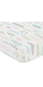 Pink and Grey Tropical Leaf Girl Baby or Toddler Nursery Fitted Crib Sheet