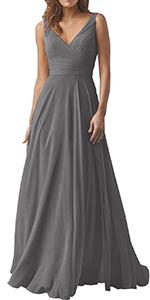 Bridesmaid Dresses for Women Long V Neckline Evening Gown Prom Skirt