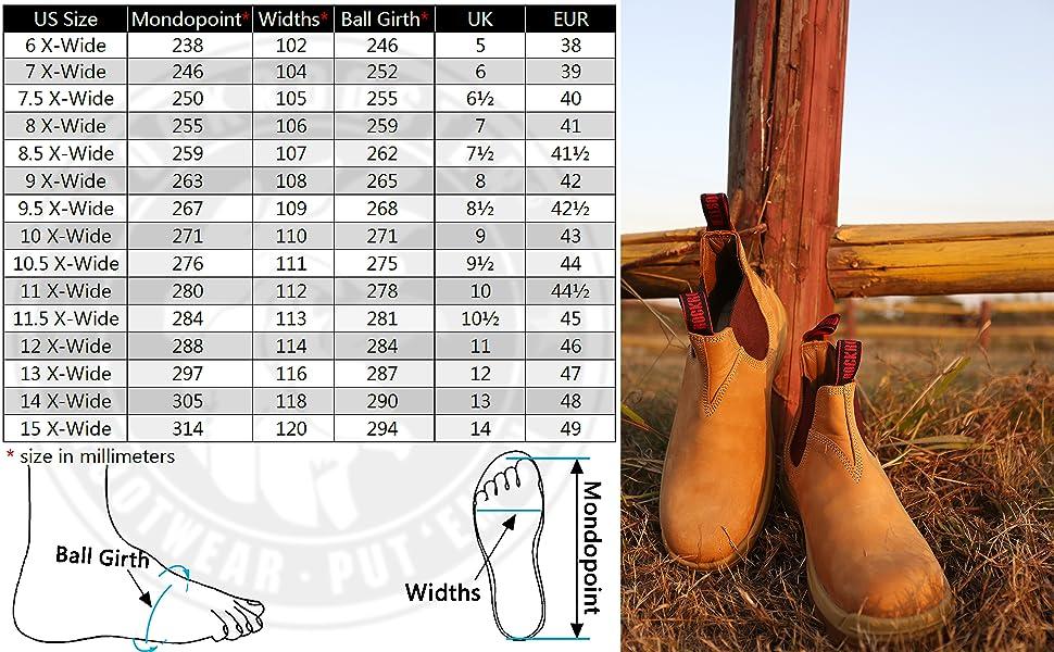 AK228 AK223 Rockrooster logger boots size chart