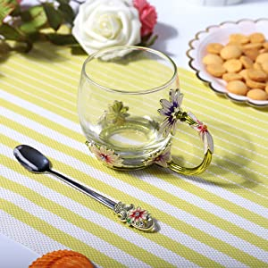 glass tea cup with spoon