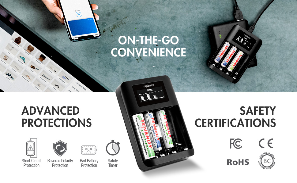 On the go convenience with USB input charger, advanced safety protections and certifications