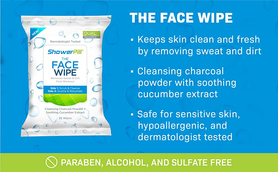 Shower Pill, The Face Wipe, face cleansing wipes, shower wipes, cleansing cloths, camping wipes