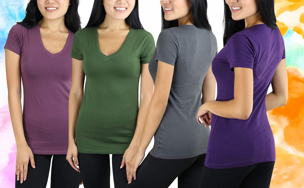 womens short sleeves v neck t shirts basic