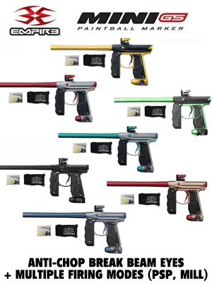 Empire Mini GS .68 Caliber Electronic Paintball Marker Gun Package HPA Paintball Tank Halo Too
