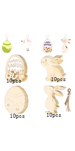 40pcs Easter Ornaments Wood Unfinished Easter Decorations