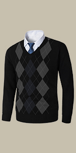 Yingqible Mens Casual Slim Fit V-Neck Argyle Cardigan Sweater Vest Knit Sweater with Front Button