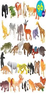 96 Pcs Mini Toy Animals for Kids