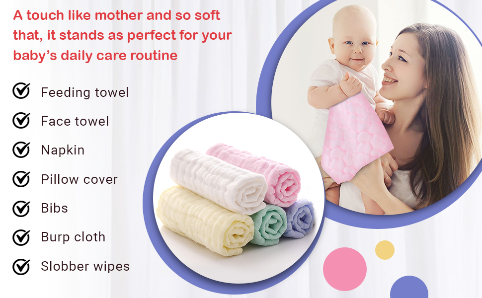 Soft Newborn Baby Face Towel and Muslin Washcloth for Sensitive Skin  Baby Registry as Shower Gift