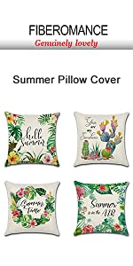 Topical leaf wreath cactus summer Pillow cover