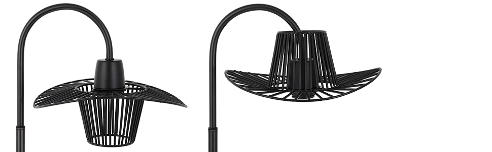 Black metal lamp with cage