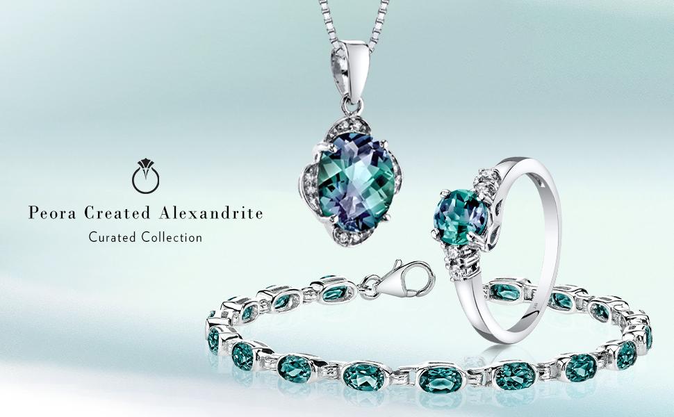 peora alexandrite ring pendant necklace earrings studs bracelet june birthstone jewelry lab created