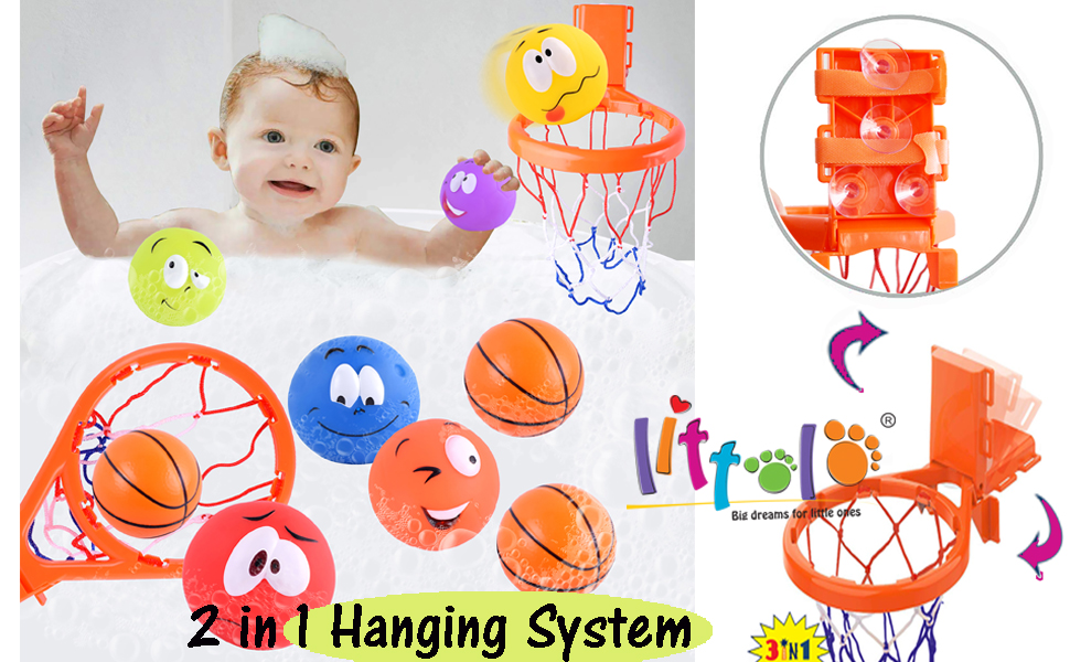 Toddler HQdeal Basketball Hoop /&3 Balls Toy Set with Strong Suction Cup for Babys Boys Girls Bath Toys Gift Set for Kids