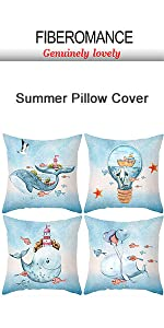 blue ocean whale pillow cover