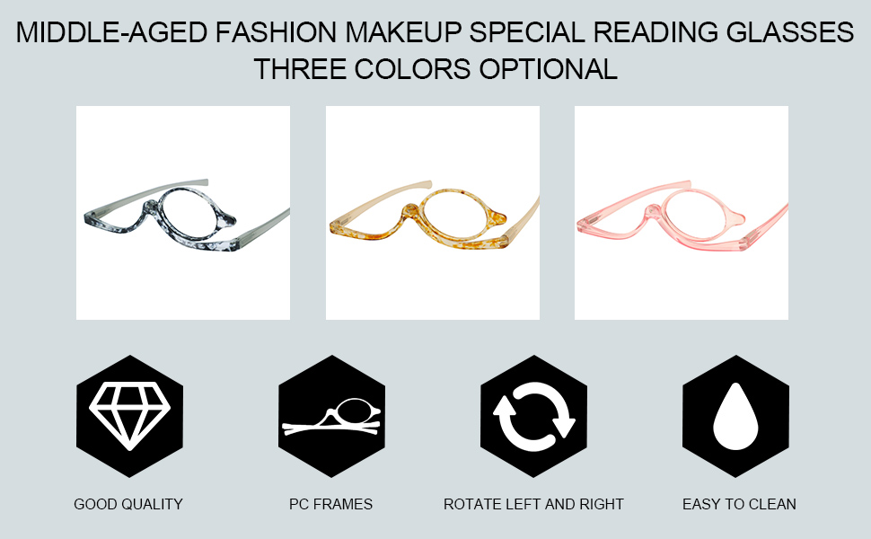 black yellow pink foldable makeup reading glasses