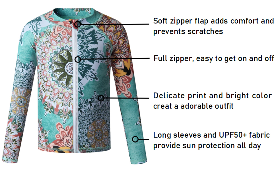 Caracilia Long Sleeve Rashgurad Swimsuit UPF 50+ Kids Swimwear Sunsuits with Zipper