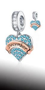925 Sterling Silver December Birthstone Charms fits Pandora Charm Bracelet