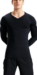 lavento men's compression shirts long sleeve v neck