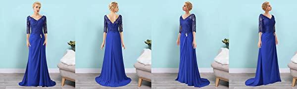 3/4 sleeves v neck mother of the bride dress