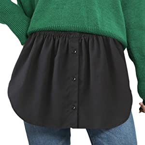 Women's Half Slips Elastic Waist Layering Fake Top Lower Sweep Unisex Teen Casual Shirt Hem