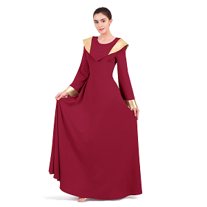 Metallic Cape Collar Liturgical Praise Dance Dress for Women