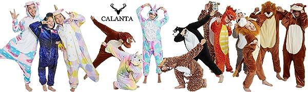 Calanta Onesie One piece pajamas pajama for women men adult kids girls boys costume soft fleece