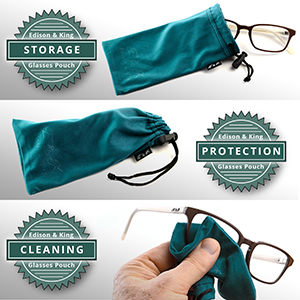 Edison & King, microfiber cleaning cloth, pouch, glasses case, storage