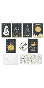 Gold & Black Christmas Cards