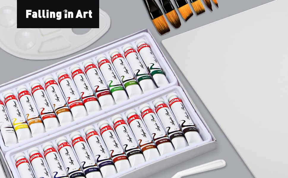 Falling in Art 34 pcs Acrylic Painting Tubes Great for The Professional Artist and Kids Acrylic Paint Set Drawing Set with Canvas panels 6 Brushes 10-Well Plastic Palette