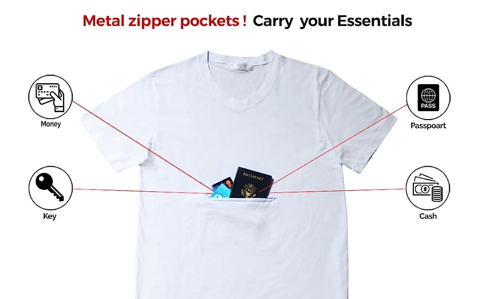 hidden pocket t shirt for safe travel