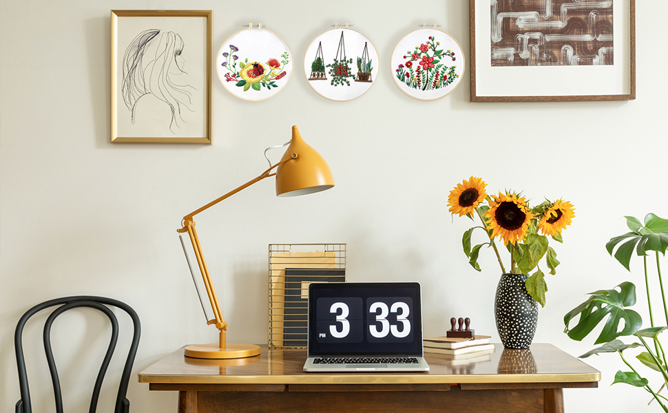embroidery kit decrotion on wall