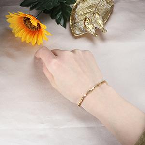 Bracelet Beaded Link Chain Bracelet gold tone