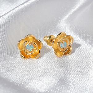 gold rose earrings for women