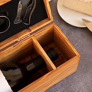 Thirteen Chefs Olive Wood Wine Box 14 Inches