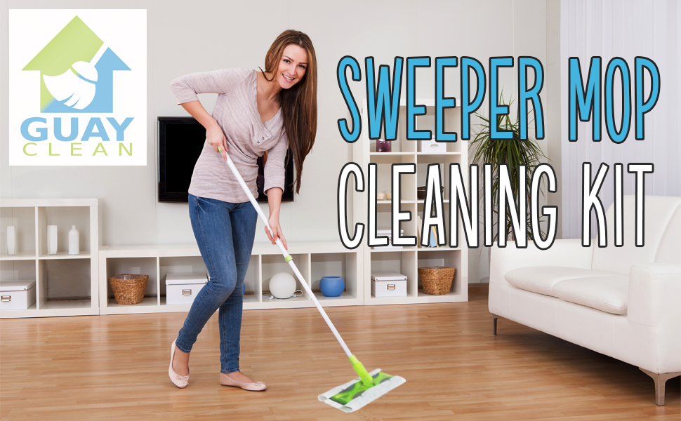 Guay Clean Flat Mop Sweeper Cleaning Kit with Adjustable Handle