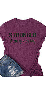 Stronger Than Yesterday Shirt Women Inspirational Letter Print Tshirt Casual Short Sleeve Tee Tops
