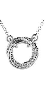 silver three circle necklace chain cable hoop strand big 925