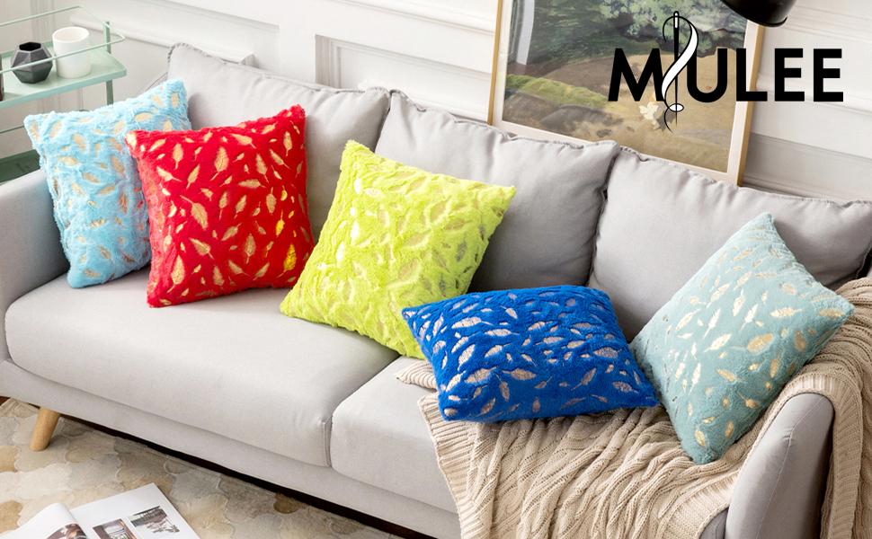 fuzzy white plush faux fur pillow covers