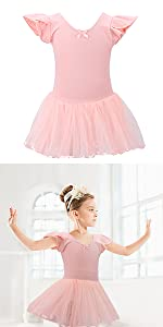 Girls Leotard Ruffle Short Sleeve Tutu Skirted Gymnastics Ballet Dancewear