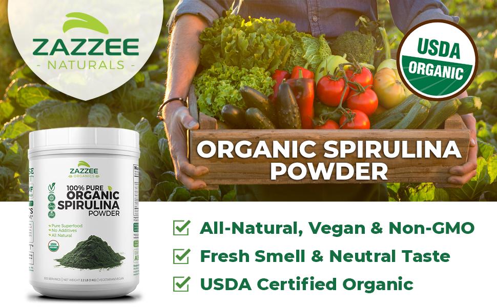 Zazzee Naturals USDA Organic Spirulina Powder, All-Natural, Vegan, Neutral Taste, 100% Pure, Non-GMO