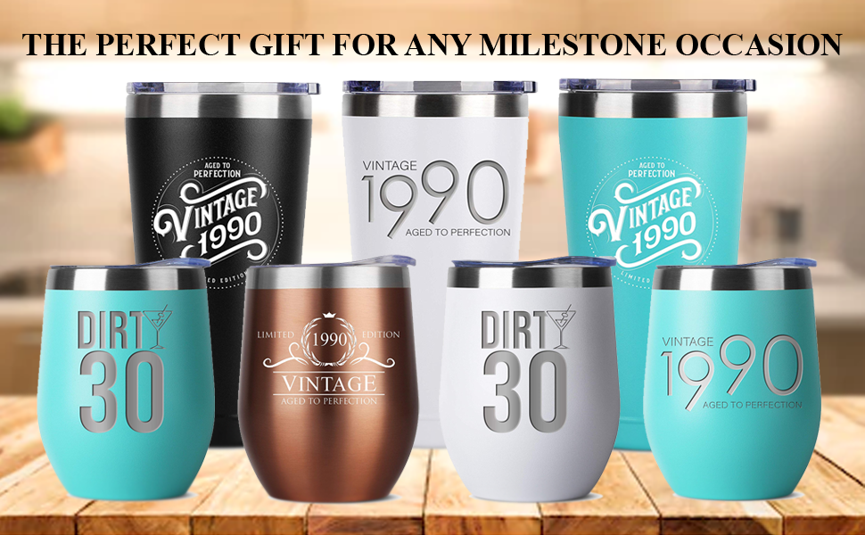 1990 30th birthday gifts gift for women and men him her tumbler tumblers stainless steel insulated