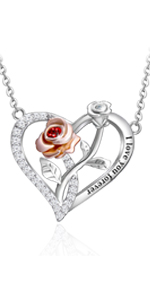 rose heart necklace for women rose necklace for women heart necklace silver rose necklace silver
