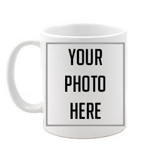 "white ceramic coffee mug with ""Your Photo Here"""