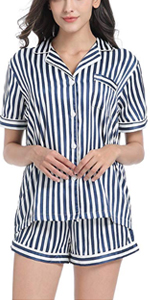 striped short sleeve pjs set