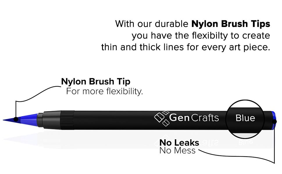 real brush pens, nylon brush tips, refillable water brush pen