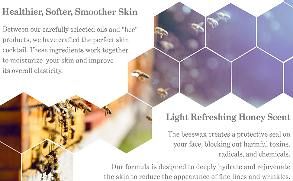 Bee imagery emphasizing ingredients in serum to improve overall skin