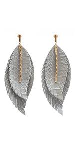 MIRMARU Women Lightweight Genuine Leather Double Leaf Layered Teardrop Dangles Earrings Metal Curve