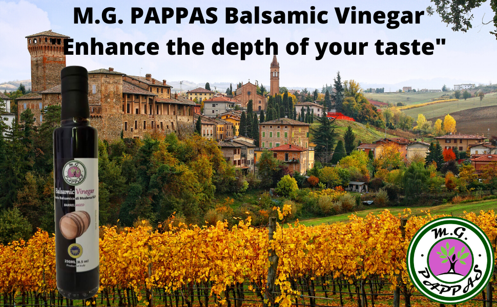 M.G. PAPPAS Balsamic Vinegar of Modena Thick and Sweet Italian Aged