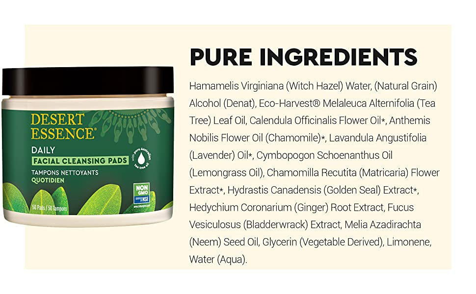 Natural Facial Cleansing Pads Ingredient List, Tea Tree Oil Cleansing Pads Ingredients
