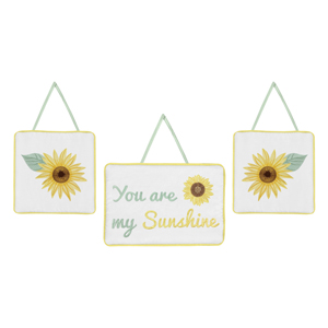 Yellow, Green and White Sunflower Boho Floral Wall Hanging Decor - Set of 3