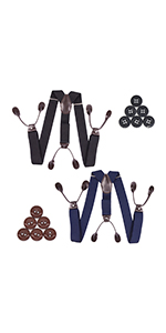 Button Suspenders for Men 2Pack